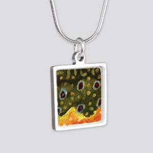 Brook Trout Fly Fishing Silver Square Necklace