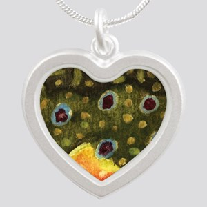 Brook Trout Fly Fishing Silver Heart Necklace