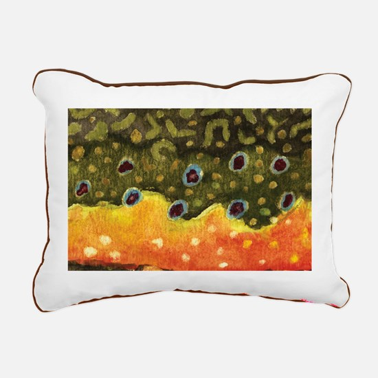Brook Trout Fly Fishing Rectangular Canvas Pillow
