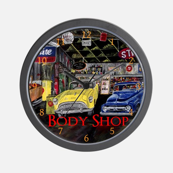 Body Shop Classic Car by Mark Moore Wall Clock