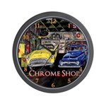 Chrome Shop Vintage Car by Mark Moore Wall Clock