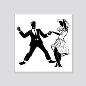 "Swing Dancers Square Sticker 3"" x 3"""
