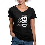 12 12 21 THE END Women's V-Neck Dark T-Shirt