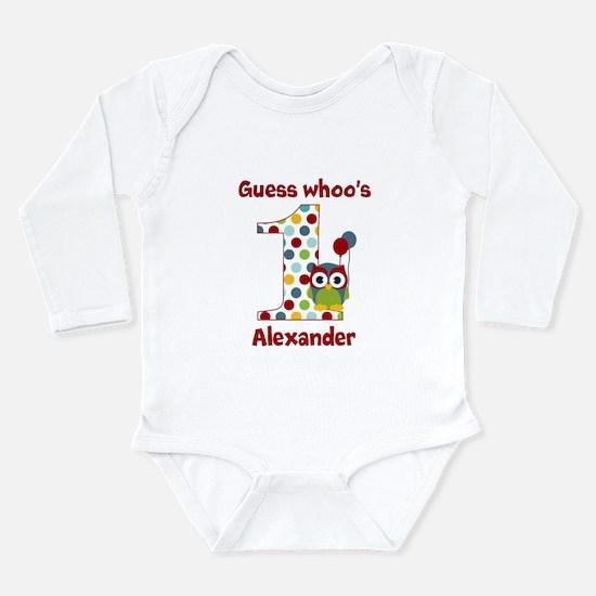 Custom guess whos 1 boy Long Sleeve Infant Bodysui