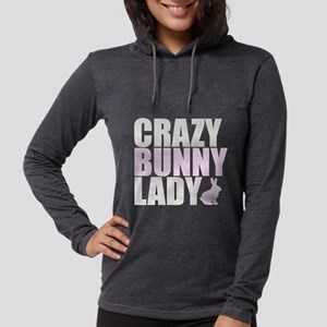 CRAZY BUNNY LADY 2 CLEAR copy. Womens Hooded Shirt