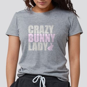 CRAZY BUNNY LADY 2 CLEAR  Womens Tri-blend T-Shirt