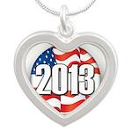 2013 Round Logo Silver Heart Necklace