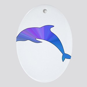 Colorful Dolphin Ornament (Oval)