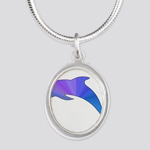 Colorful Dolphin Silver Oval Necklace