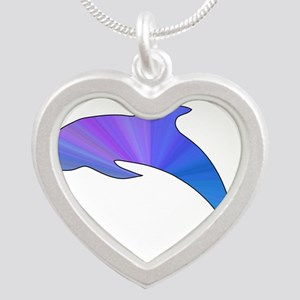 Colorful Dolphin Silver Heart Necklace