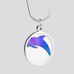 Colorful Dolphin Silver Round Necklace