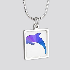 Colorful Dolphin Silver Square Necklace