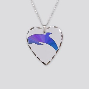 Colorful Dolphin Necklace Heart Charm