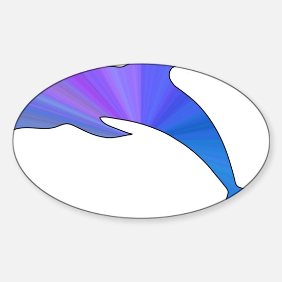 Colorful Dolphin Sticker (Oval)