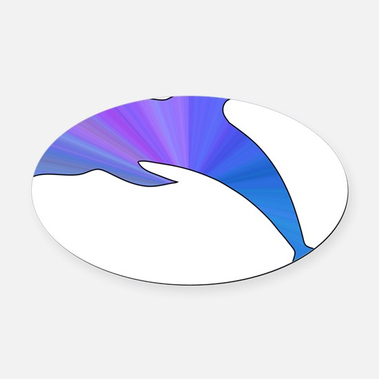Colorful Dolphin Oval Car Magnet