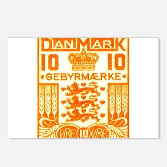 1934 Denmark National Coat of Arms Stamp Postcards