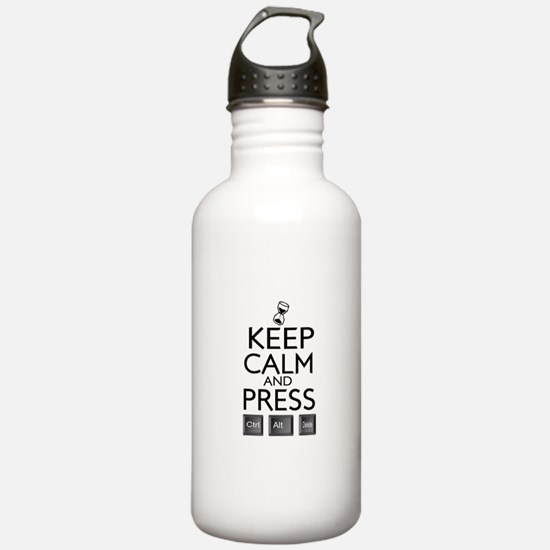 Keep calm Funny IT computer geek humor Water Bottle