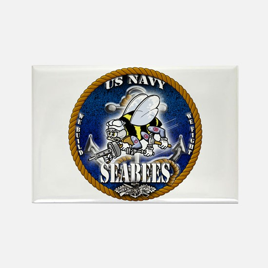USN Navy Seabees Roped Blue Glow Rectangle Magnet