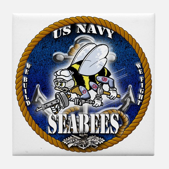 USN Navy Seabees Roped Blue Glow Tile Coaster