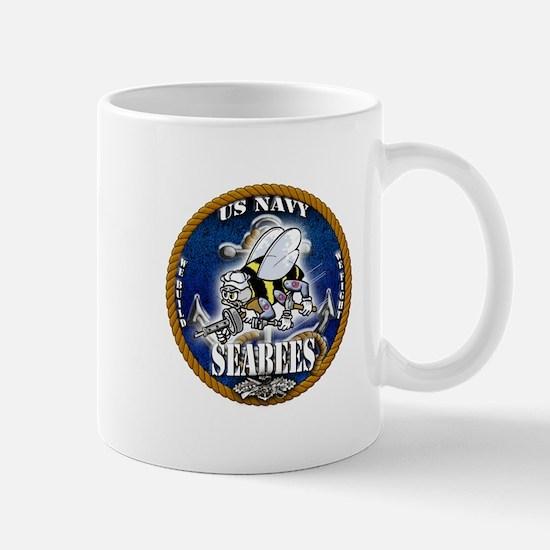 USN Navy Seabees Roped Blue Glow Mug