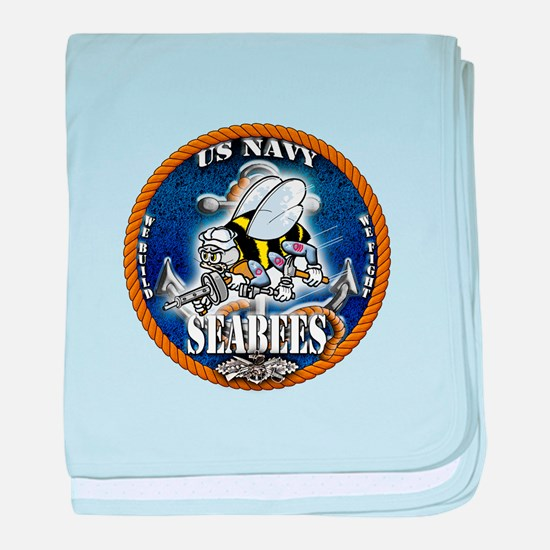 USN Navy Seabees Roped Blue Glow baby blanket