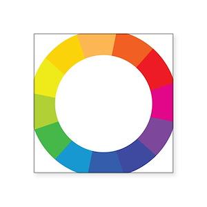 Color Wheel Square Stickers Cafepress
