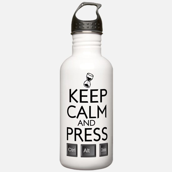 Keep Calm and press control Alt funny Water Bottle