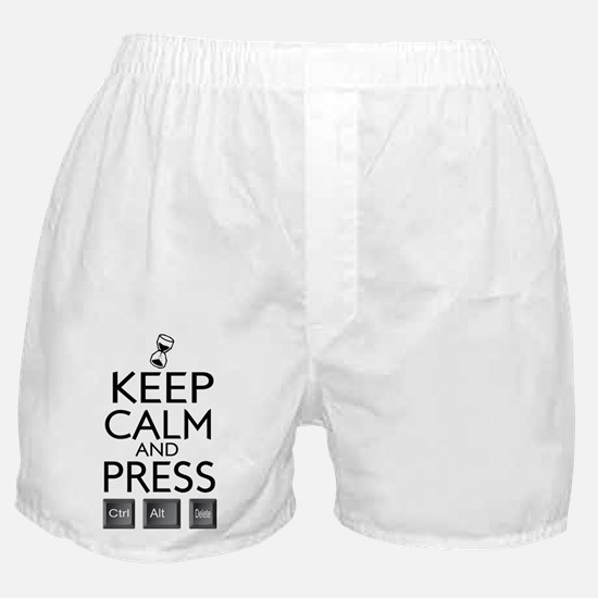 Keep Calm and press control Alt funny Boxer Shorts
