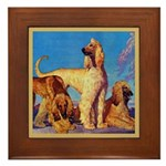 Afghan Hounds Framed Tile