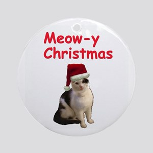 Meowy Christmas Cat Ornament (Round)