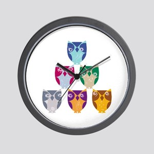 Colorful Artistic Owls Art Wall Clock