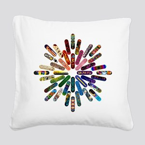 Skateboard Art Mandala Square Canvas Pillow