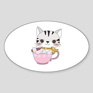 Kitten Cat in Tea Cup Sticker (Oval)