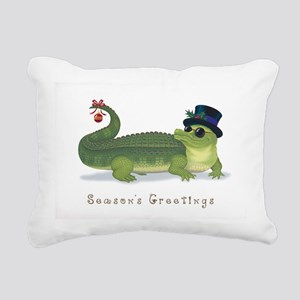 Christmas Alligator Rectangular Canvas Pillow
