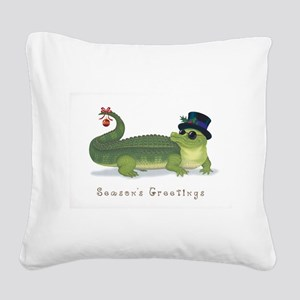 Christmas Alligator Square Canvas Pillow