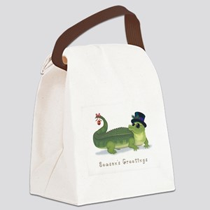 Christmas Alligator Canvas Lunch Bag