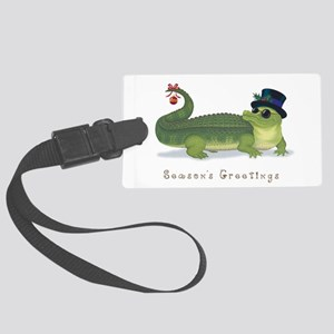 Christmas Alligator Large Luggage Tag