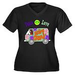 Groovy Van Women's Plus Size V-Neck Dark T-Shirt