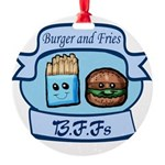 Burger and Fries BFFs Round Ornament