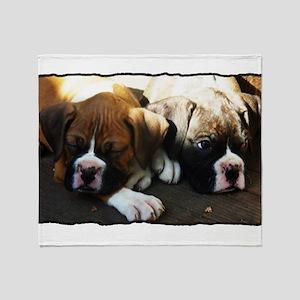 Boxer puppies Throw Blanket
