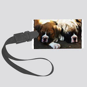 Boxer puppies Large Luggage Tag