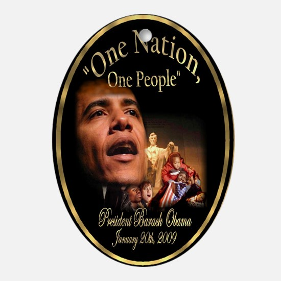 "Obama's ""One Nation"" Ornament (Oval)"