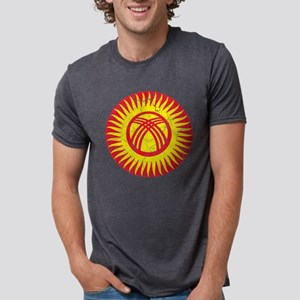 Kyrgyzstan Roundel Cracked. Mens Tri-blend T-Shirt