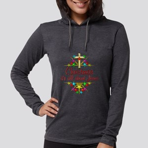 Christmas About Jesus Womens Hooded Shirt