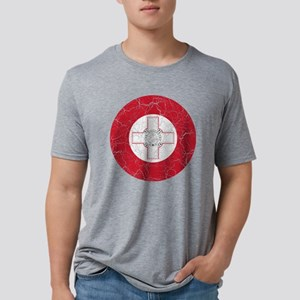 Malta Roundel Cracked Mens Tri-blend T-Shirt