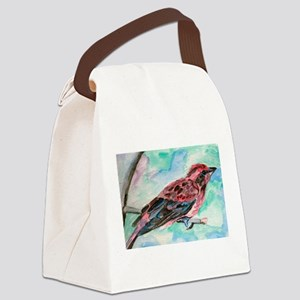 Purple Finch Canvas Lunch Bag