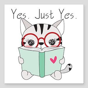 "Kitten Cat Reading Book Square Car Magnet 3"" x 3"""