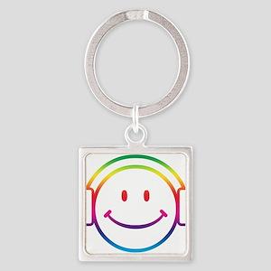 Smiley DJ Square Keychain