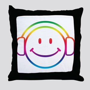 Smiley DJ Throw Pillow