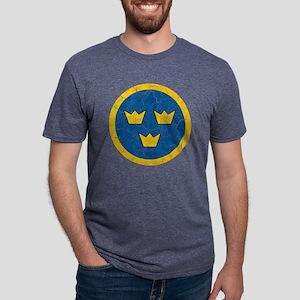 Sweden Roundel Cracked Mens Tri-blend T-Shirt